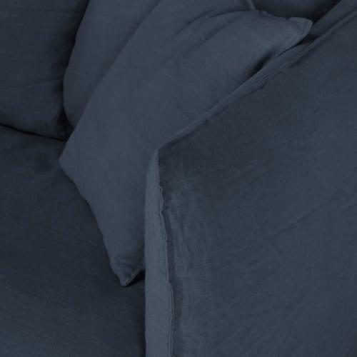 Copripiumino In Lino Stropicciato.Divano Letto 2 Posti In Lino Stropicciato Blu Notte Louvre