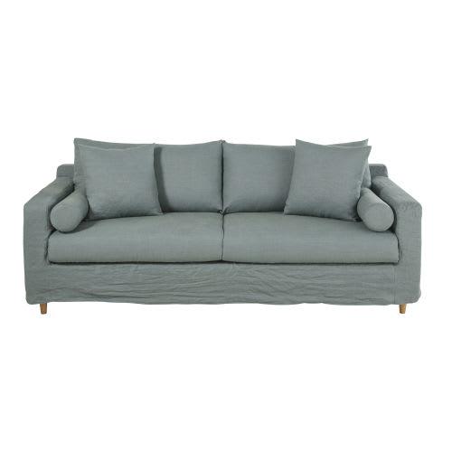 Divano letto 3/4 posti blu celadon in lino lavato