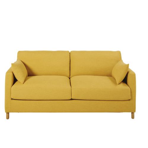 Divano letto 3 posti giallo senape, materasso 14 cm