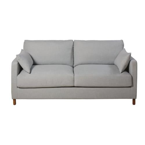 Divano letto 3 posti grigio chiaro, materasso 14 cm