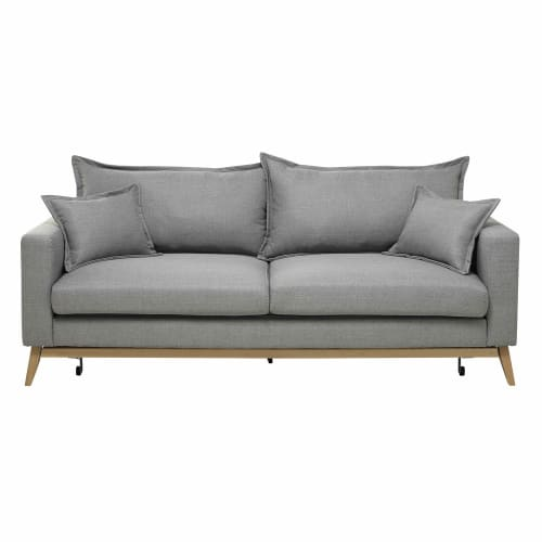 Divano-letto 3 posti in tessuto grigio chiaro