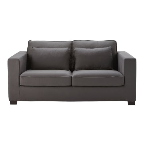 Divano trasformabile in cotone grigio ardesia 3 posti, materasso 6 cm