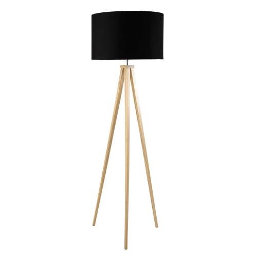 Dreibeinige Stehlampe aus Eschenholz und schwarzer Baumwolle, H156 | Maisons du Monde