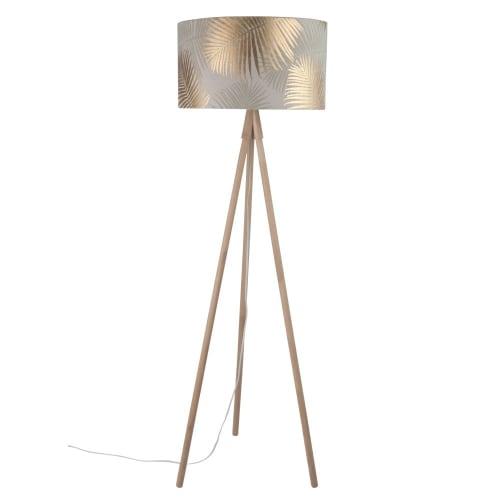 Dreifuß Stehlampe aus Eichenholz, Lampenschirm bedruckt mit Palmenmotiv H155