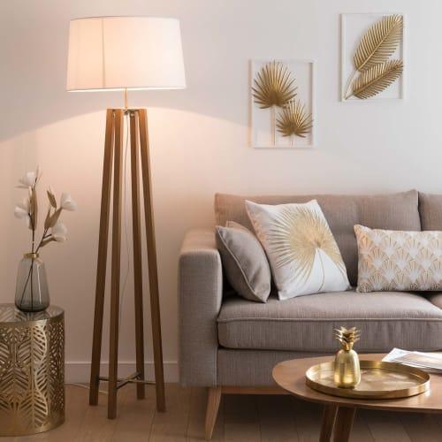 Dreifuß Stehlampe aus Eichenholz mit weißem Lampenschirm, H160 | Maisons du Monde