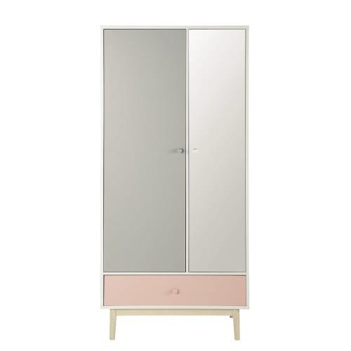 Dressing 2 portes 1 tiroir blanc avec miroir   Maisons du Monde