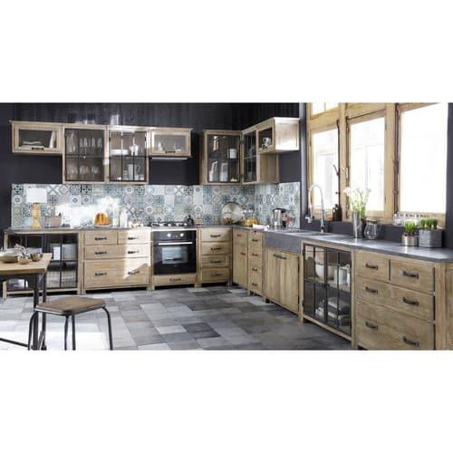 Eckoberschrank für die Küche aus Recyclingholz, B 97 cm, grau