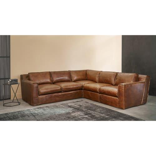 Ecksofa 4 Sitzer Im Vintage Stil Aus Leder Cognacfarbenen Morrison Maisons Du Monde