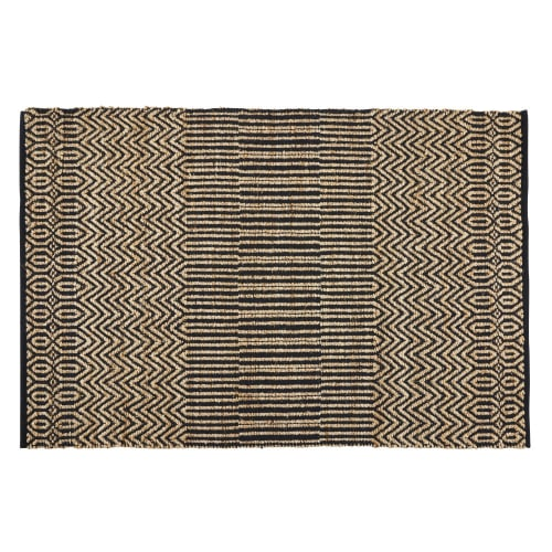 Ecru And Grey Cotton Jute Rug With