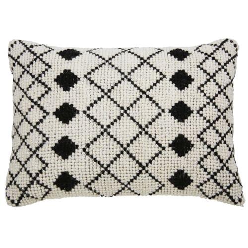Kussen Zwart Wit.Ecrukleurig Kussen Van Wol En Katoen Met Zwart Wit Motief 40x60