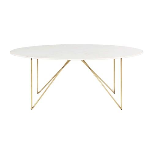 Witte Eettafel 6 Pers.Eettafel Van Wit Marmer En Goudkleurig Metaal Voor 4 A 6 Personen L200 Maisons Du Monde