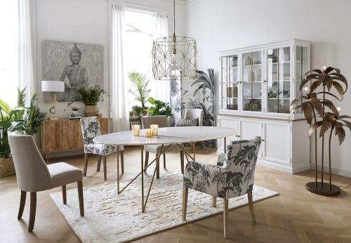 Esstisch für 4 6 Personen aus weißem Marmor und goldfarbenem Eisen, L200   Maisons du Monde