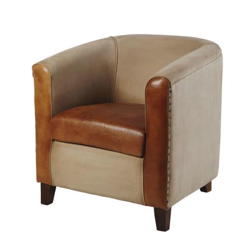 fauteuil club en coton recycl et cuir marron pionnier maisons du monde