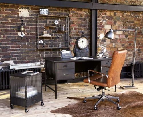 Fauteuil de bureau à roulettes en cuir marron et métal