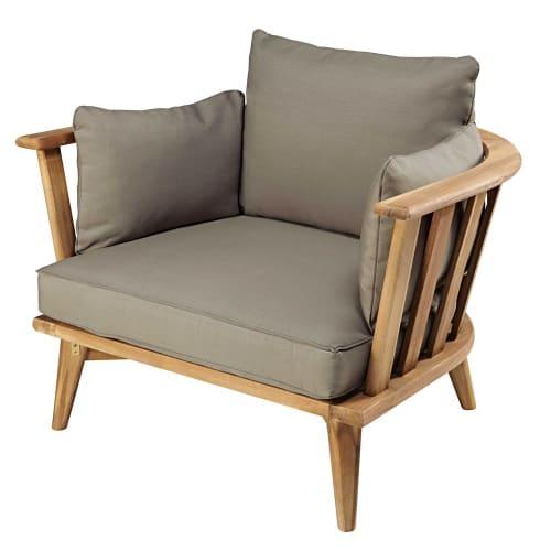 2 Jardin Coussin en couleur taupe avec Coussin de Tête à dossier haut fauteuil jardin coussins de chaise
