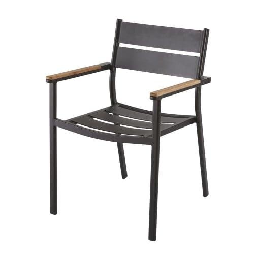 fauteuil de jardin en aluminium gris anthracite et teck massif maisons du monde
