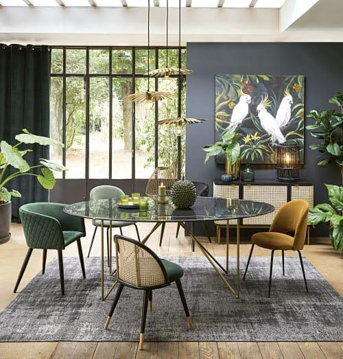 Fauteuil en velours matelassé vert et métal noir | Maisons du Monde
