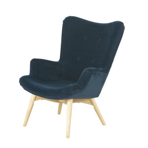 Fauteuil style scandinave en velours bleu nuit | Maisons du Monde