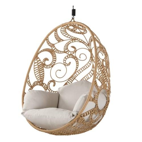 fauteuil suspendu de jardin en resine imitation rotin et coussin ecru maisons du monde
