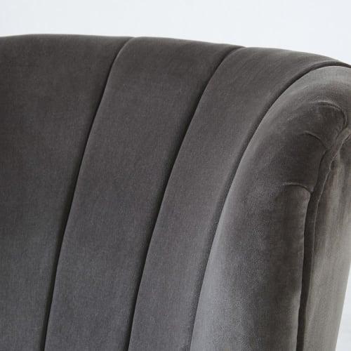 Fauteuil vintage en velours gris pieds en bouleau noir   Maisons du Monde
