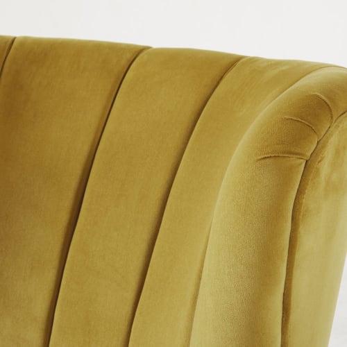 Fauteuil vintage en velours jaune pieds en bouleau noir   Maisons du Monde