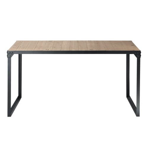 Fir and Metal 8/8-Seater Industrial Dining Table L 8  Maisons du Monde