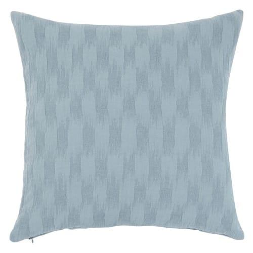 Fodera di cuscino in cotone blu con motivi, 40x40 cm