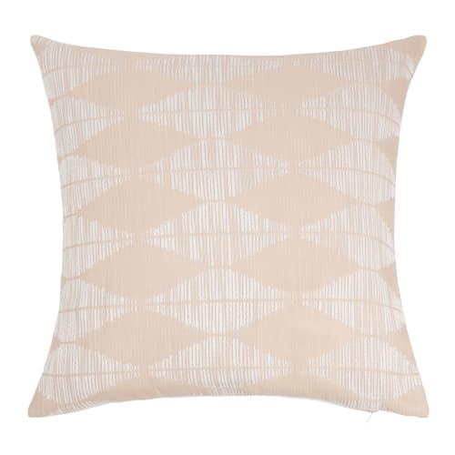 Fodera di cuscino in cotone con motivi écru e beige, 40x40 cm