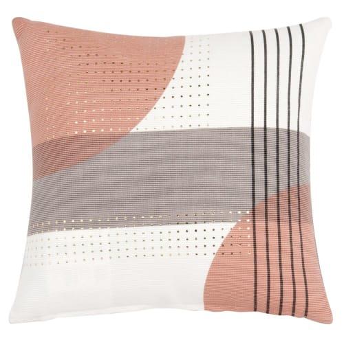 Fodera di cuscino in velluto écru, rosa e grigio con stampa, 40x40 cm
