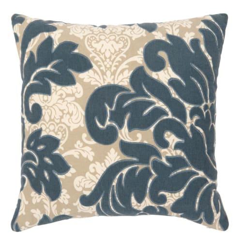 Fodera per cuscino beige con motivi floreali ricamati, 40x40 cm