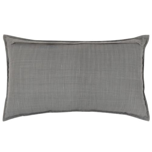 Fodera per cuscino in cotone blu con ricamo bianco, 30x50 cm