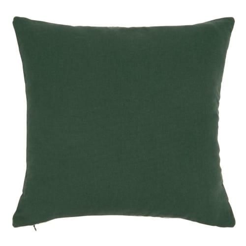 Cuscini Verdi.Fodera Per Cuscino In Cotone Intrecciato Ecru Con Motivi Grafici