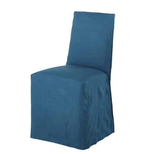 Fodera per sedia in lino lavato blu pavone