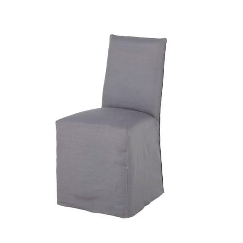 Fodera per sedia in lino lavato grigio