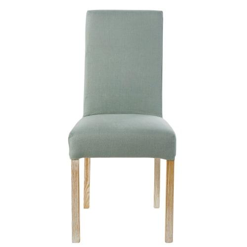 Fodera per sedia in lino lavato verde giada
