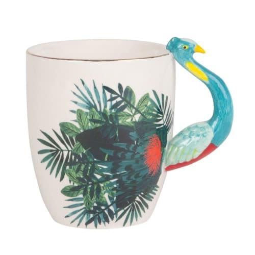 Foliage Print Porcelain Peacock Mug  Maisons du Monde