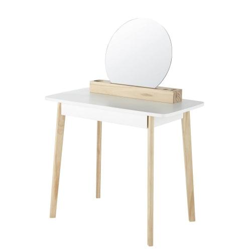 süßer Frisiertisch Schminktisch Frisierkommode skandinavischer Stil weiß Holz