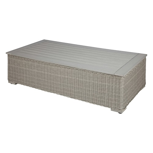 Garden Coffee Table In Composite And Grey Resin Wicker