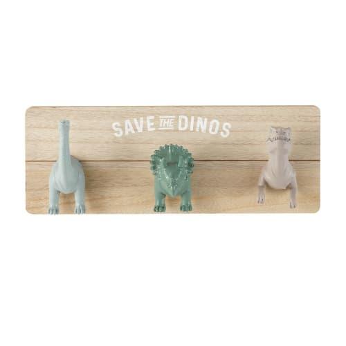 Garderobenleiste Mit 3 Haken Dinosaurier, Grau, Braun Und