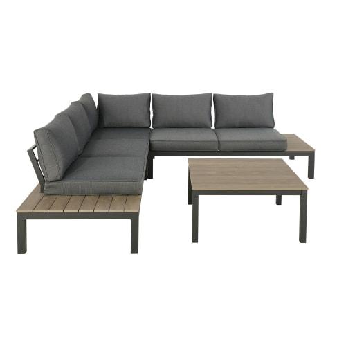 Gartenmöbel mit 6 Sitzplätzen, anthrazitgrau und niedriger Tisch