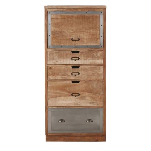 Geschlossener Küchenschrank mit 4 Schubladen aus massivem Mangoholz und  Metall