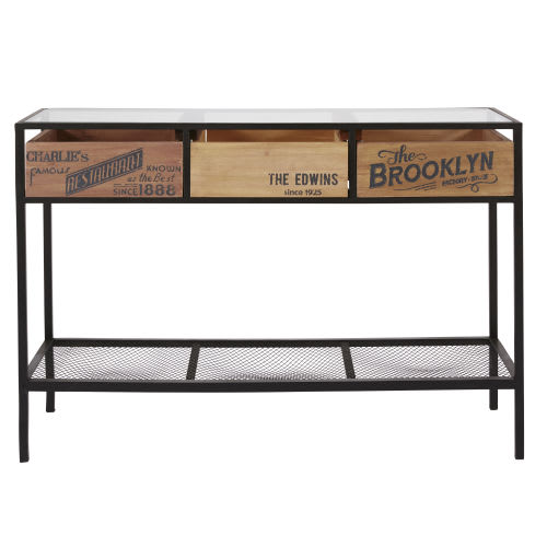 Fantastic Glass And Metal 3 Drawer Console Table Interior Design Ideas Oxytryabchikinfo