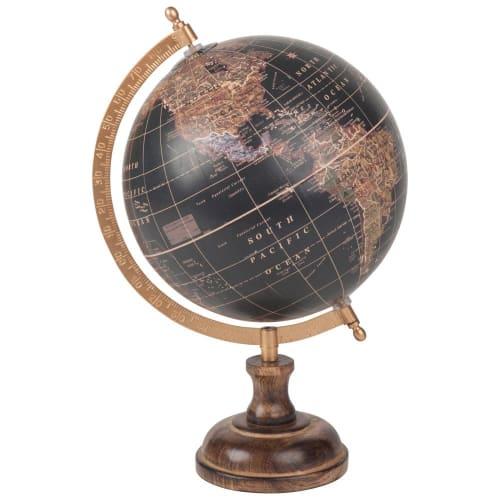 Maison du Monde Globe terrestre carte du monde en manguier noir