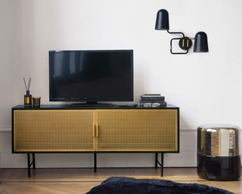 Gold And Black Metal 2 Door Tv Cabinet Maisons Du Monde