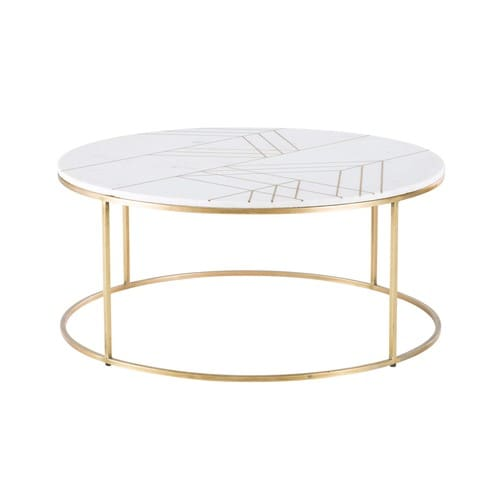 Gold Metal Round Coffee Table.Gold Iron And White Marble Round Coffee Table