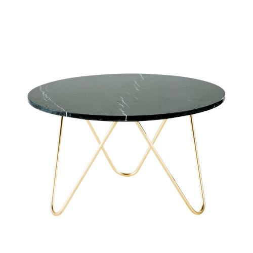 Gold Metal And Black Marble Coffee Table Maisons Du Monde