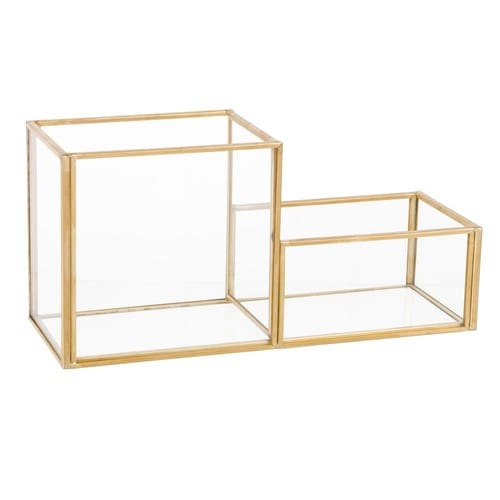 low priced 76823 80c02 Gold Metal and Glass Desk Organiser