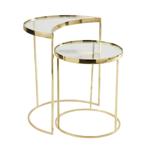 Gold Metal And Gl Side Tables X2