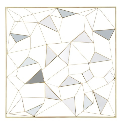 Gold Metal Mirror Wall Art 98x98 Clayton Maisons Du Monde