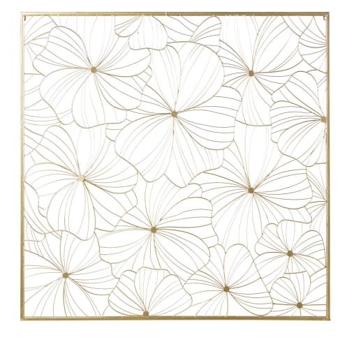 Gold Metal Wire Flower Wall Art 100x100 Maisons Du Monde